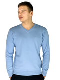 Pierre Cardin Mens New Season Essential V-Neck Knitted Jumper-SKY