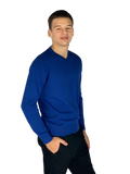Pierre Cardin Mens New Season Essential V-Neck Knitted Jumper-Dk Blue