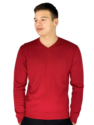 Pierre Cardin Mens New Season Essential V-Neck Knitted Jumper-BERRY
