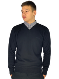 Pierre Cardin Mens New Season V-Neck Knitted Jumper with Mock Shirt Collar Insert - Black (Style 2)