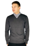 Pierre Cardin Mens New Season V-Neck Knitted Jumper with Mock Shirt Collar Insert - Charcoal Marl