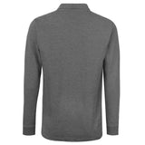 Pierre Cardin Mens Long Sleeve Classic Fit Premium Top Polo T Shirt - Charcoal Marl