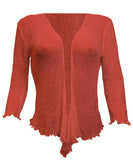 Mimosa Plus Size Ladies Crochet Bolero Shrug Maternity Tie at Waist Cardigan