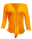 Mimosa Ladies Crochet Plain Stretch Lace Fish Net Bali Tie at Waist Bolero Shrug Open Cardigan