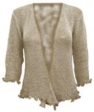 Mimosa Ladies Crochet Glitter Stretch Lace Fish Net Bali Tie at Waist Bolero Shrug Open Cardigan