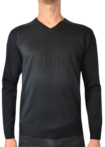 Pierre Cardin Mens New Season Essential V-Neck Knitted Jumper - Black