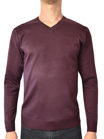 Pierre Cardin Mens New Season Essential V-Neck Knitted Jumper - Burgundy