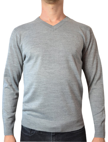 Pierre Cardin Mens New Season Essential V-Neck Knitted Jumper - Grey Marl