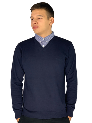 Pierre Cardin Mens New Season V-Neck Knitted Jumper with Mock Shirt Collar Insert - Navy