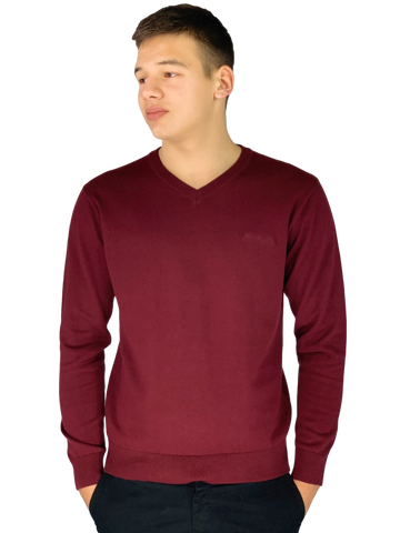 Pierre Cardin Mens New Season Essential V-Neck Knitted Jumper-BURGUNDY