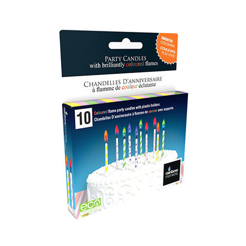 Pastel Printed Colour Flame Candles (10-pack)