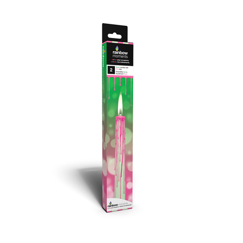 Magic Color Drip Candles – Green with Pink Drip
