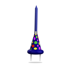 Blue Party Hat Cake Topper with Large Colored Flame Candle