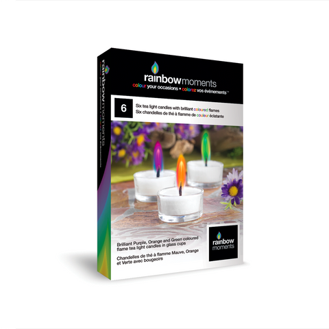 Six Spring Evenings Purple, Orange & Green Flame Tealights