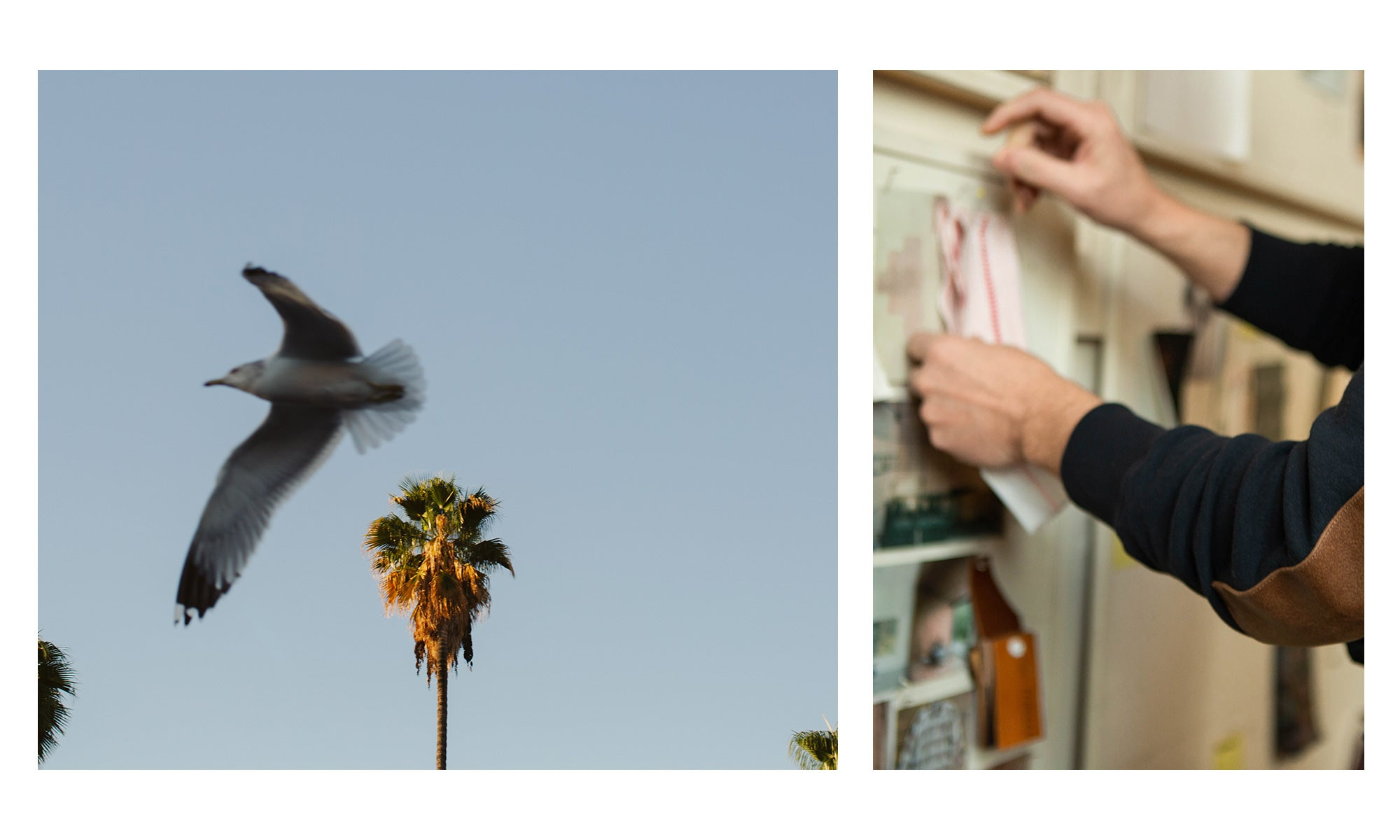 In the Studio with Billy Reid: Left, scenic image from California; Right, close-up of Billy adding details to the design boards in his studio