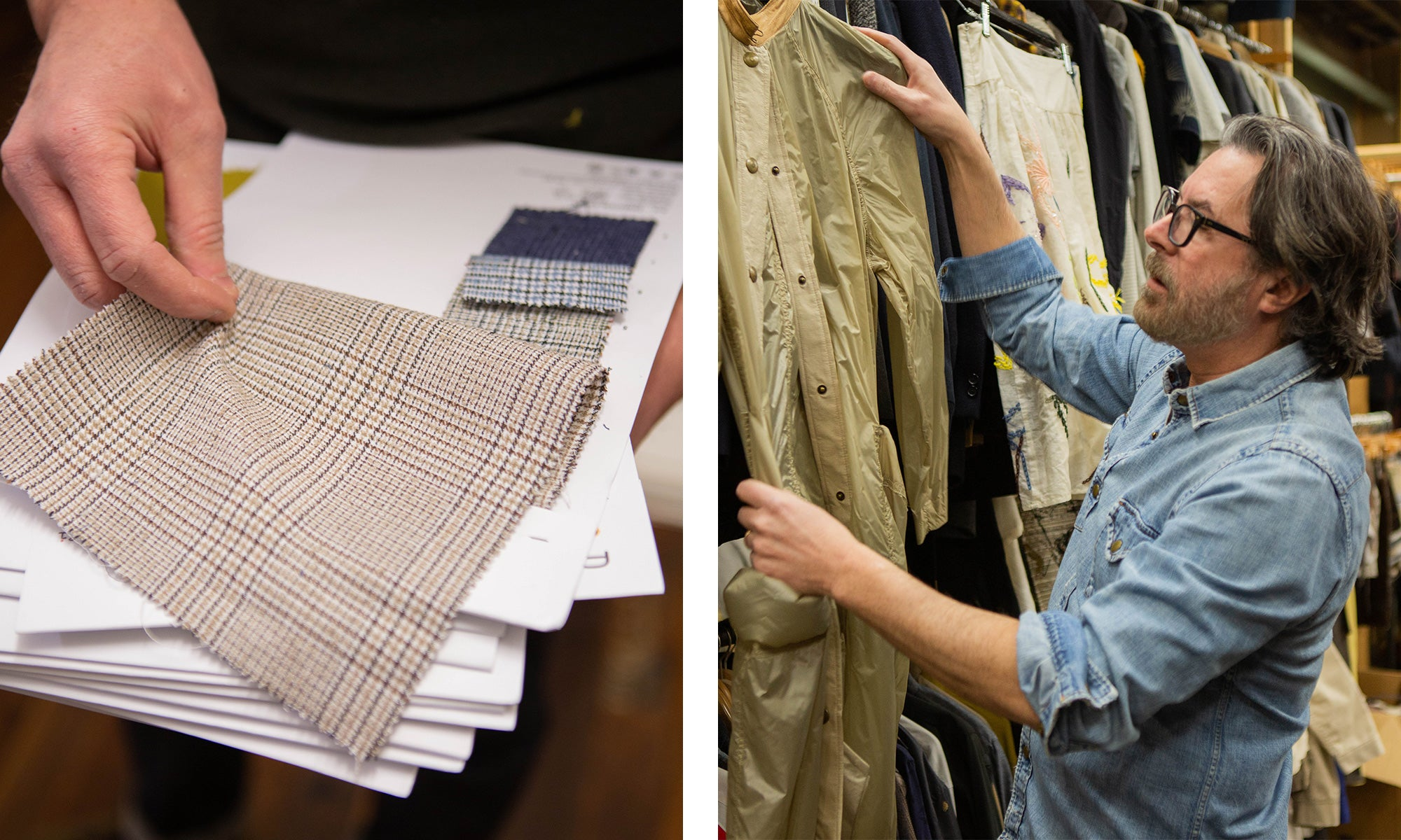 In the studio with Billy Reid | Left image: fabric swatches; right image: Billy in the sample closet at his studio in Florence, Alabama.