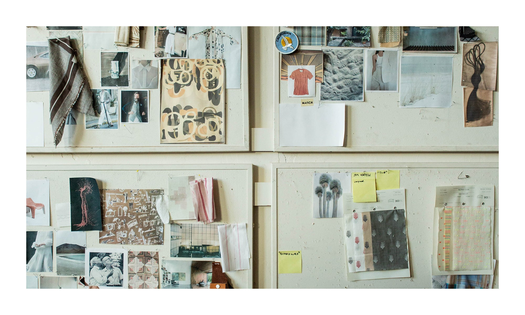 In the studio with Billy Reid | detail shot of the design inspiration boards for SS21