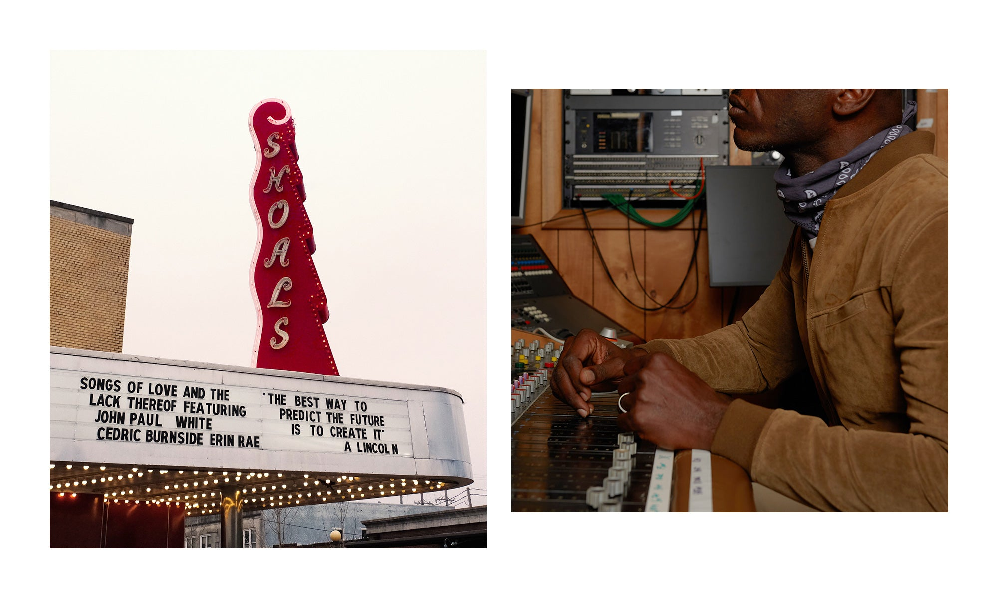 Left: photo of the famous Shoals Theatre in Florence, AL; Right: singer/songwriter Cedric Burnside in the recording booth at Fame Studios in Muscle Shoals, AL