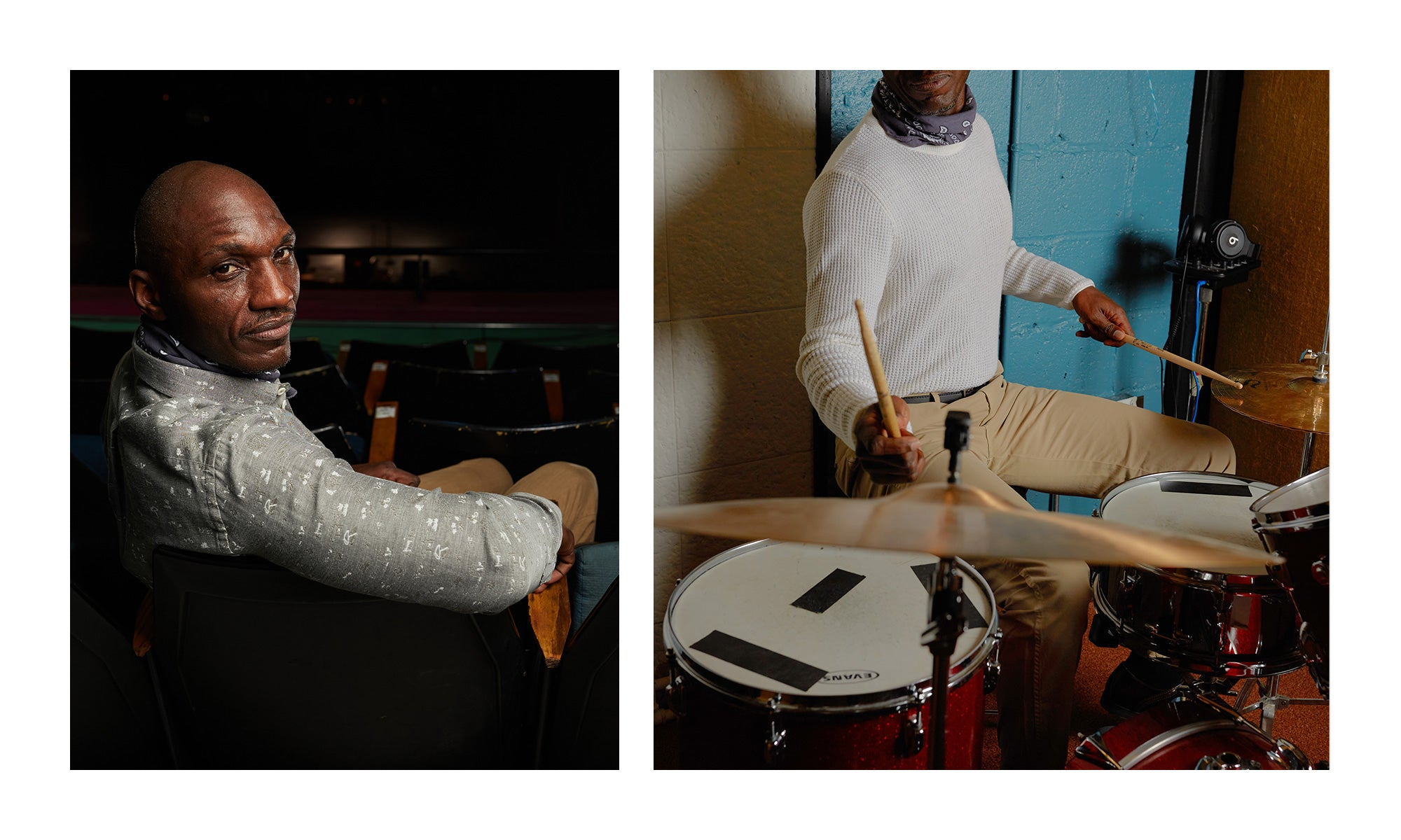 Left: portrait of Grammy-nominated singer/songwriter Cedric Burnside wearing the SS21 John T while sitting in the empty audience of the famous Shoals Theatre; Right: Cedric Burnside playing drums while wearing the Mini Waffle Knit Crew and the Pima Cotton Chino pants