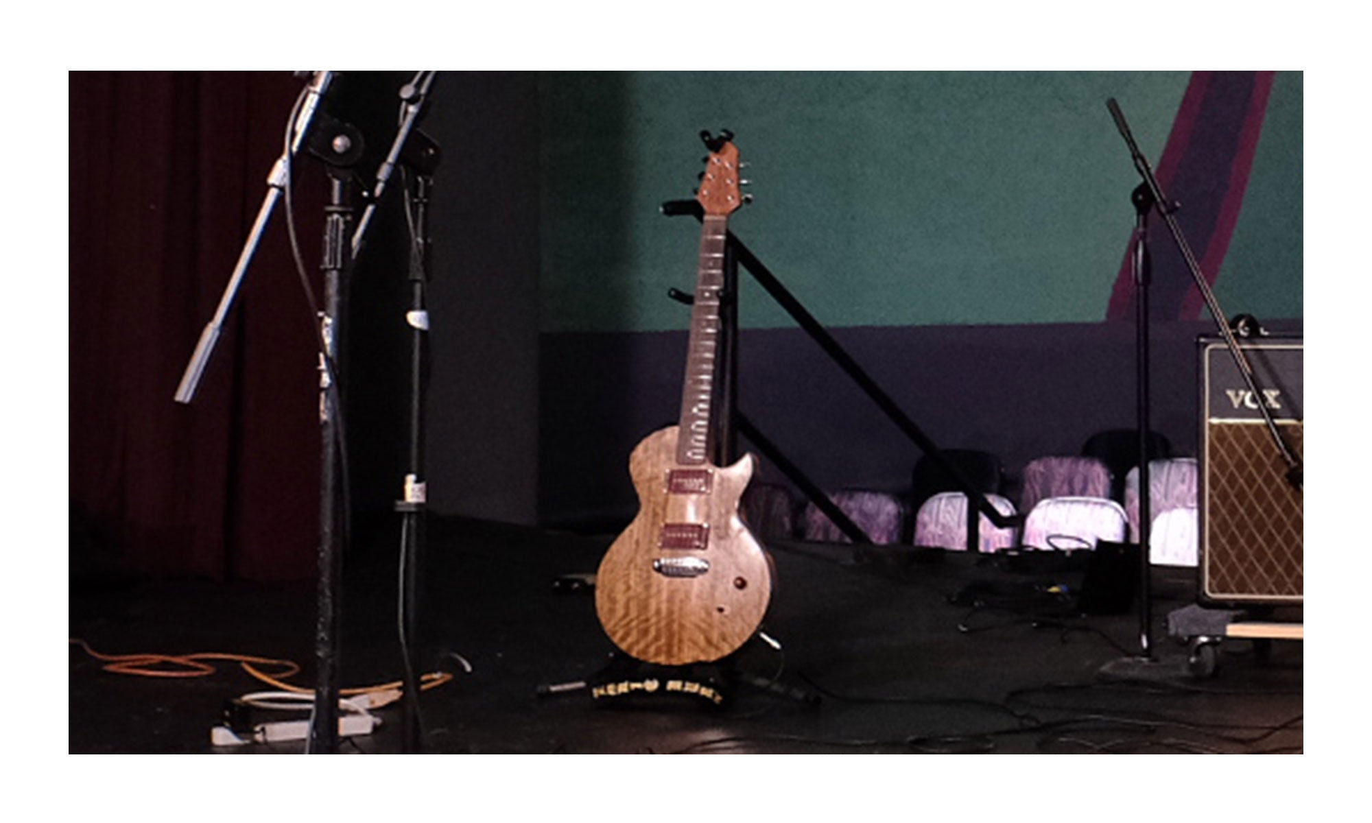 Singer / Songwriter Erin Rae's guitar on stage at the famous Shoals Theatre in Florence, AL