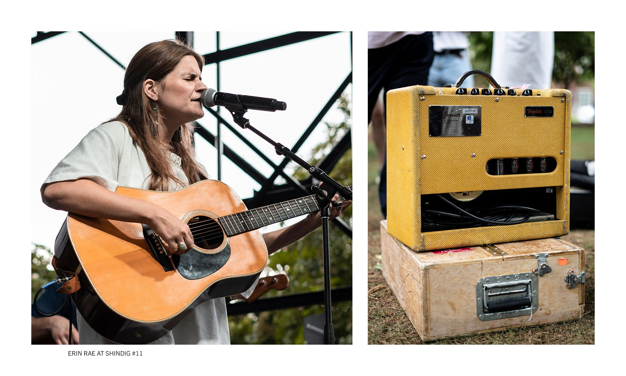 Singer / Songwriter Erin Rae playing live on stage at Shindig # 11 in 2019. Florence, AL.
