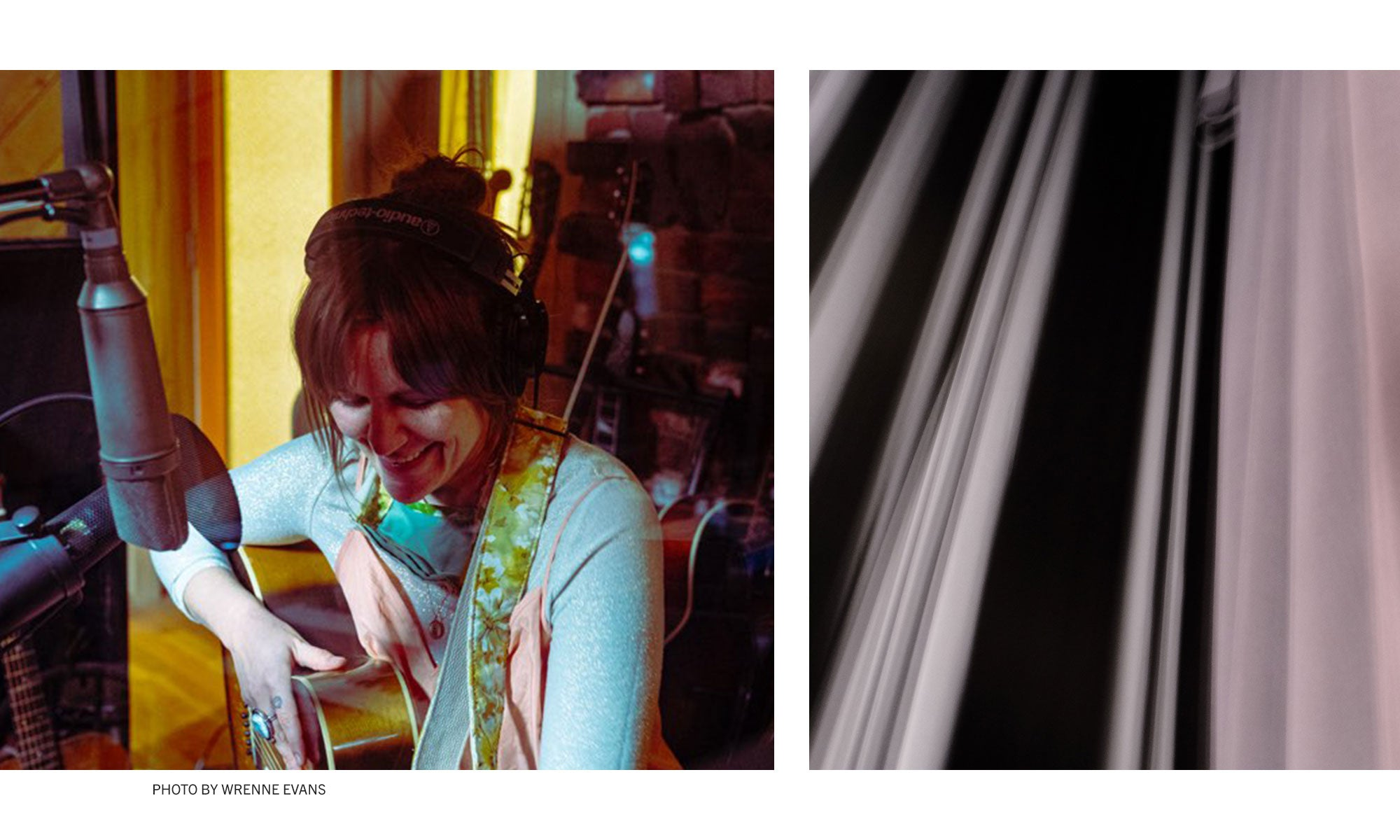 Photo of Singer / Songwriter Erin Rae recording in the studio, photographed by Wrenne Evans