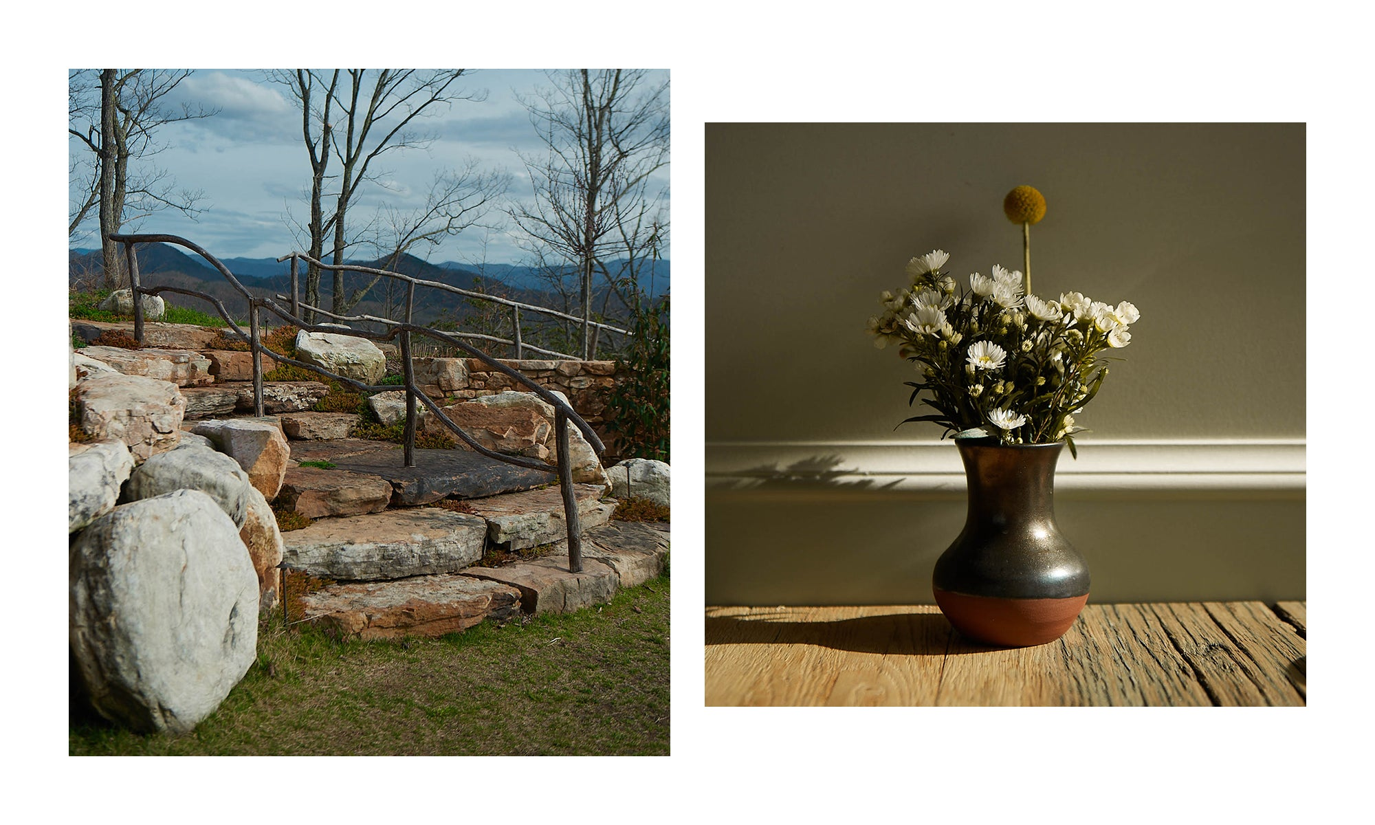 Photo from Blackberry Farm in Walland, TN showing stone steps and wildflowers in a vase