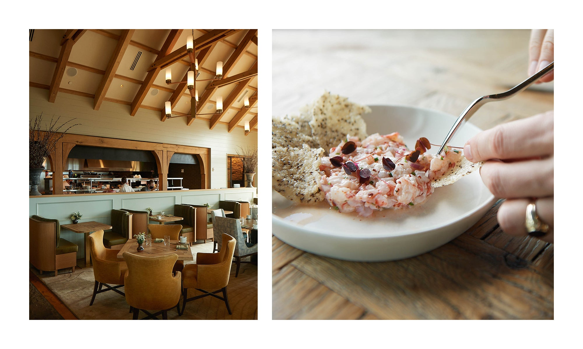 Left image: dining room at Blackberry Farm; Right image: closeup of a gourmet dish at Blackberry Farm
