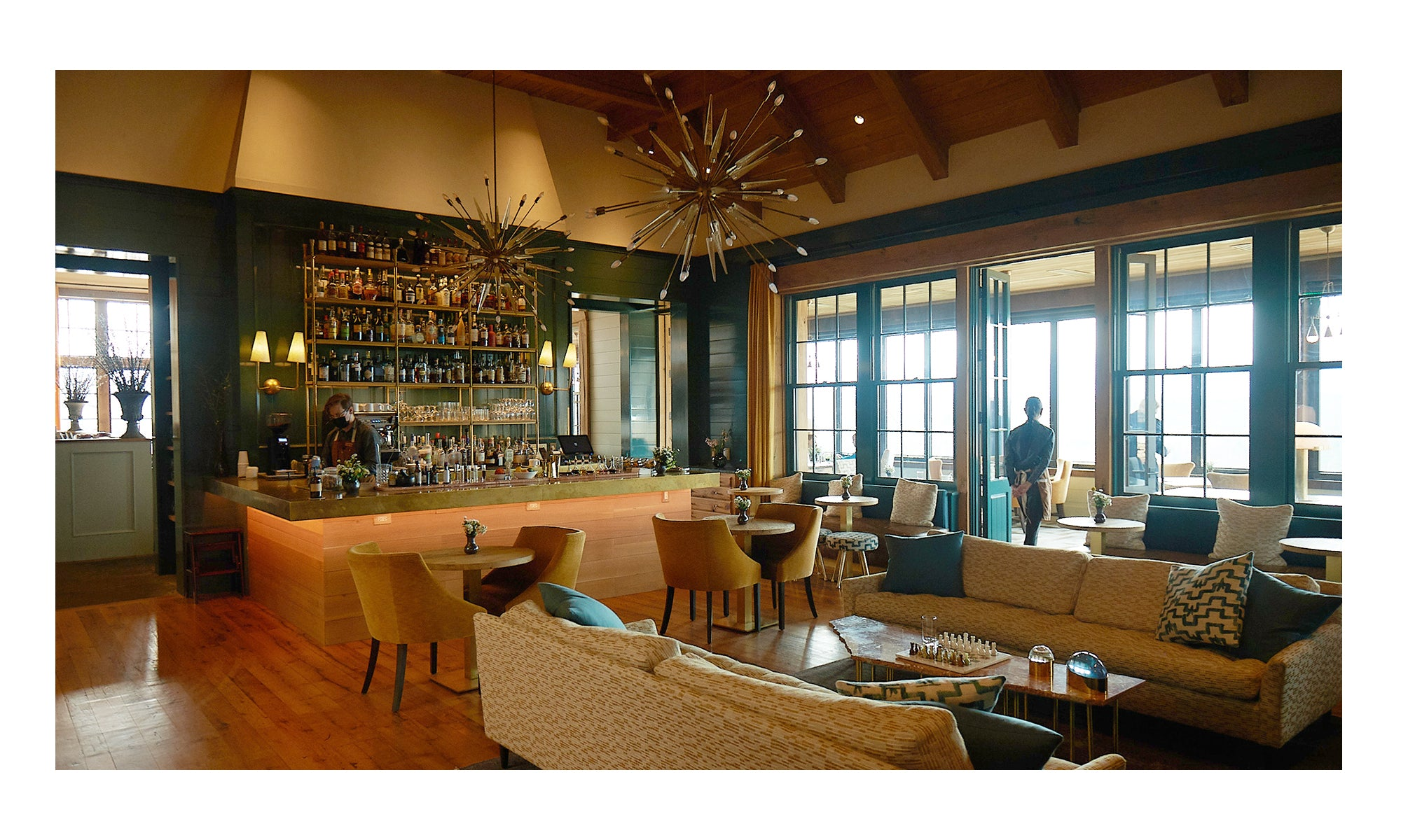 Photo of elegant dining room and bar at Blackberry Farm in Walland, TN