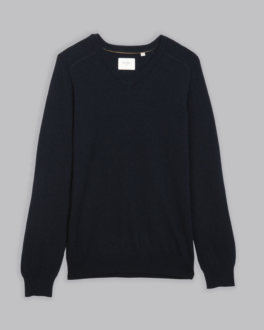 WOOL CASHMERE SADDLE V-NECK