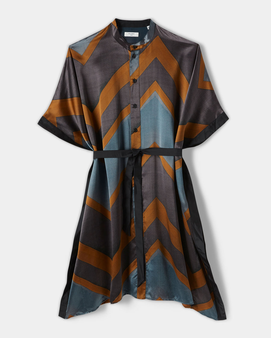 PAINTED ZIG ZAG SILK DRESS