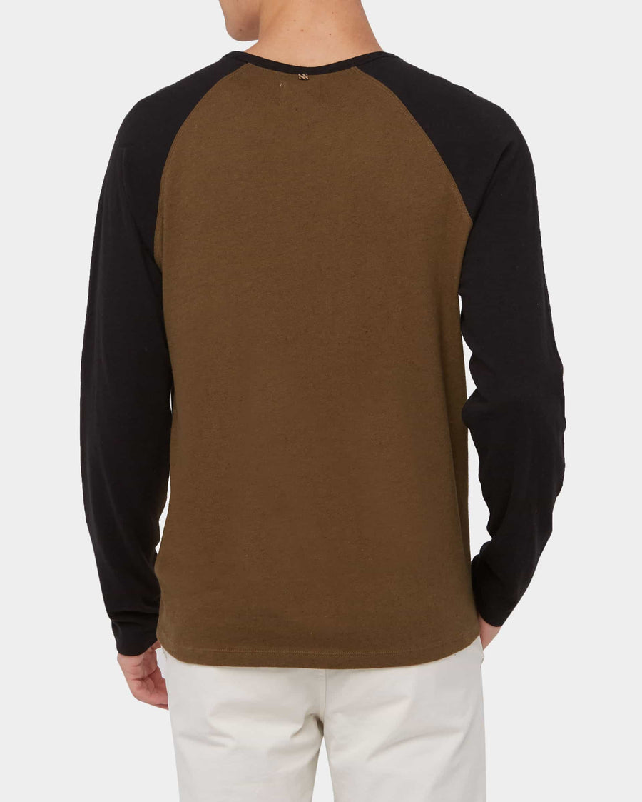 COTTON LINEN L/S BASEBALL TEE