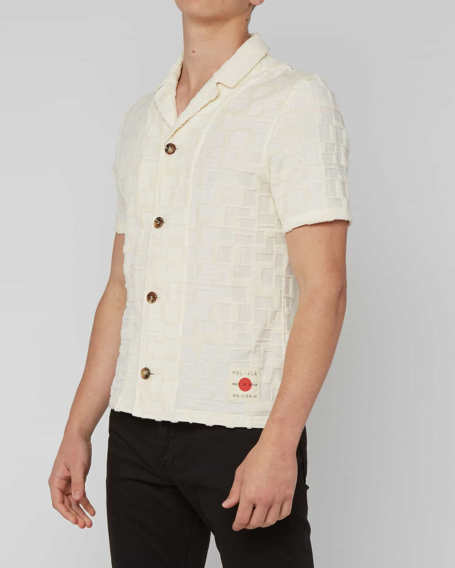 BLOCKED JACQUARD CAMP SHIRT