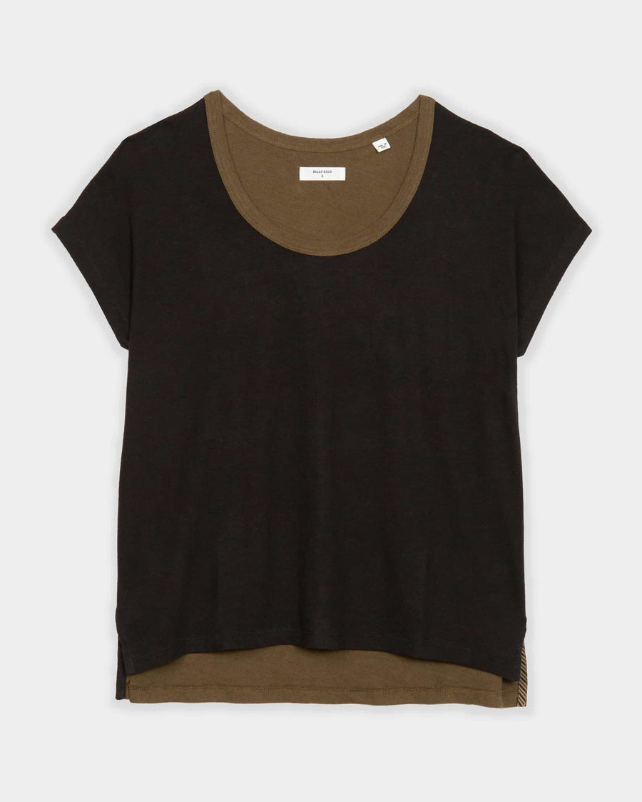 COTTON LINEN BLOCK TEE