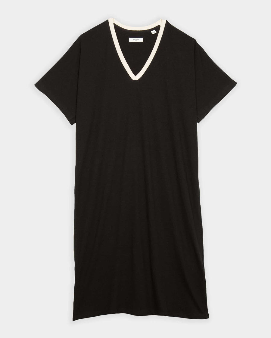 COTTON LINEN CREST V-NECK DRESS