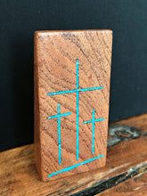"Load image into Gallery viewer, Handmade Mesquite Standing Tri Cross with Turquoise Inlay 3.5"" x 2"""