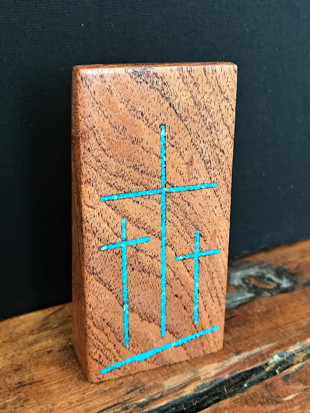 Handmade Mesquite Standing Tri Cross with Turquoise Inlay 3.5