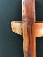 "Load image into Gallery viewer, Handmade Cherry Wall Cross with Turquoise Inlay 16"" x 4"""