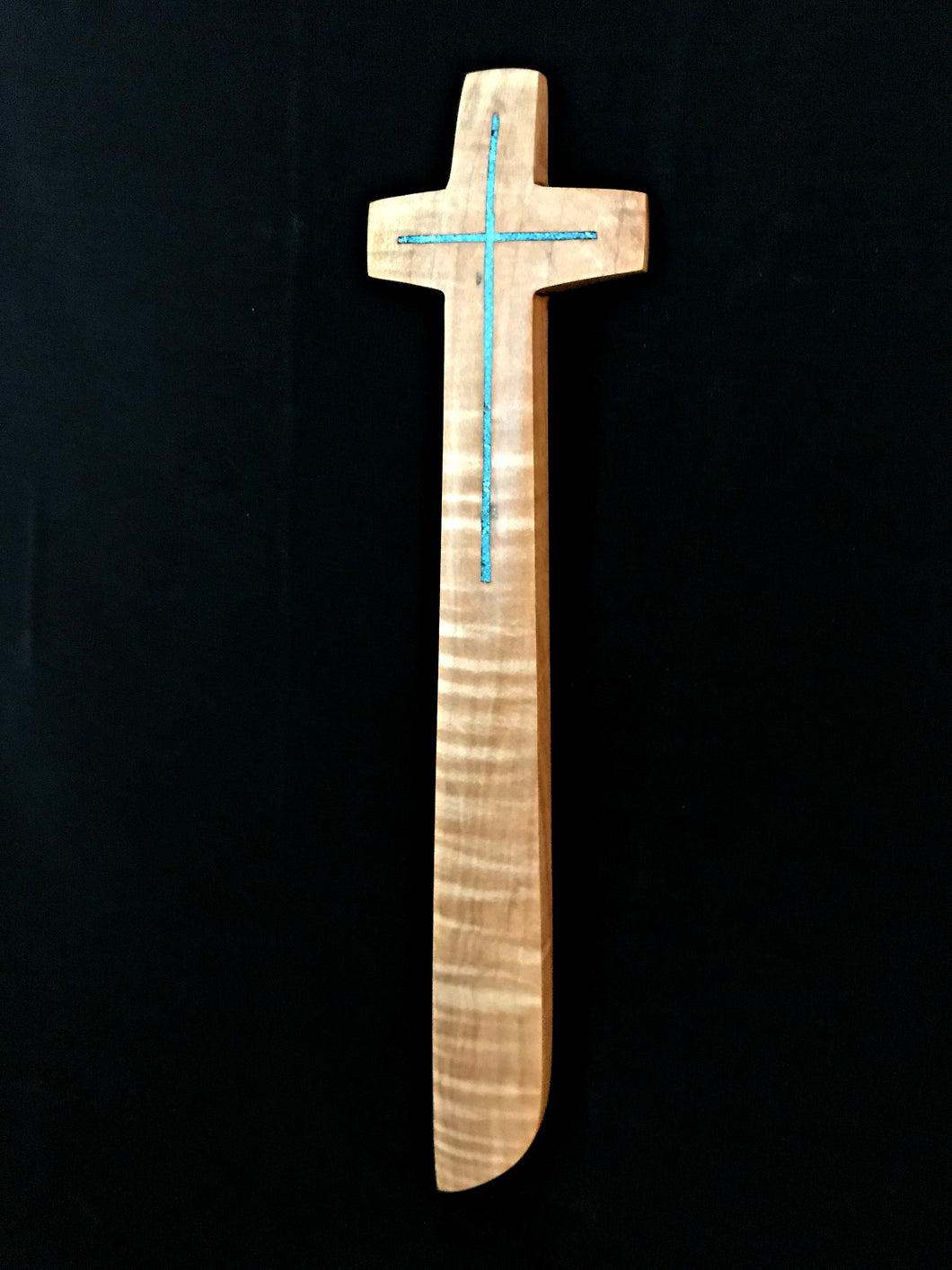 Handmade Maple Wall Cross with Turquoise Inlay Natural 11.5