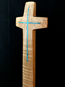 "Handmade Maple Wall Cross with Turquoise Inlay Natural 11.5"" x 2.5"""