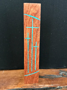 "Handmade Mesquite Standing Tri Cross with Turquoise Inlay 3"" x 2"""