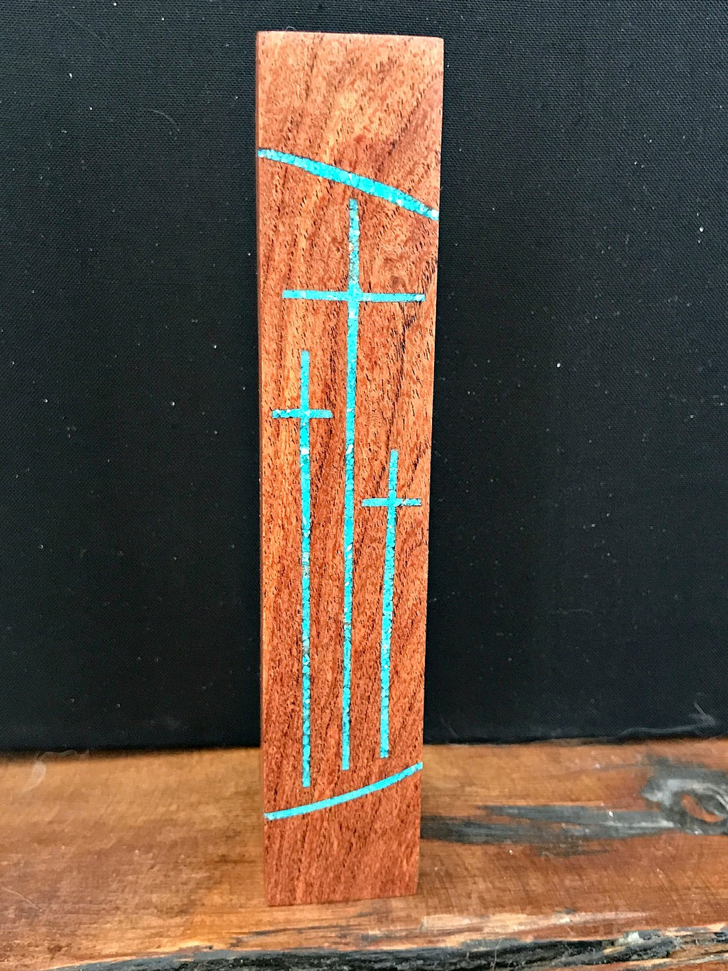Handmade Mesquite Standing Tri Cross with Turquoise Inlay 3