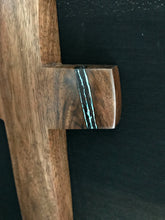 "Load image into Gallery viewer, Handmade Walnut Wall Cross with Turquoise Inlay 12.5"" x 5.5"""