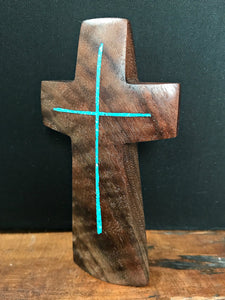 "Handmade Walnut Standing Cross with Turquoise Inlay 5"" x 3"""