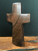 "Load image into Gallery viewer, Handmade Walnut Standing Cross with Turquoise Inlay 5"" x 3"""