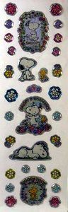 Snoopy and Woodstock With Flowers Puffy Stickers