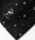 Peanuts Dual-Color Christmas Necktie - Linus and Snoopy Sledding