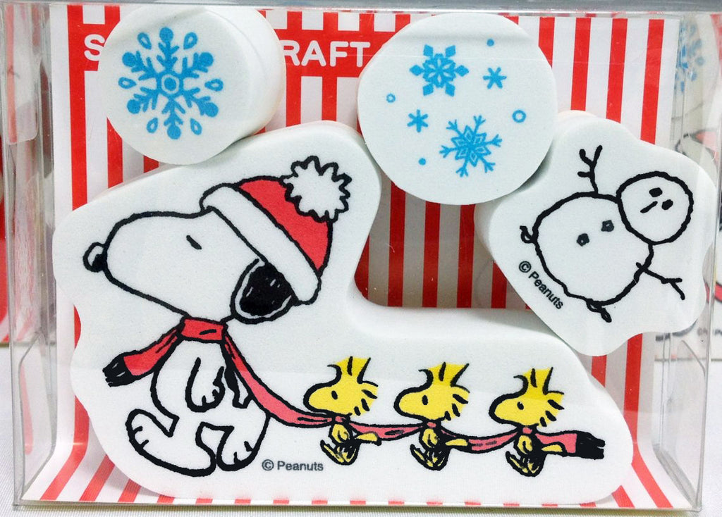 Snoopy and Woodstock RUBBER STAMP SET - Winter Fun