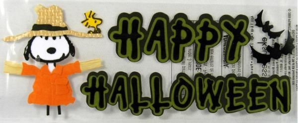 Snoopy Scarecrow Dimensional Halloween Stickers / Scrapbooking Embellishments
