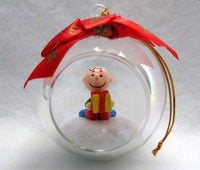 ADLER CHARLIE BROWN IN GLASS BALL CHRISTMAS ORNAMENT